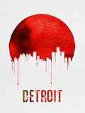Detroit Skyline Red Plastic Sign by  NaxArt