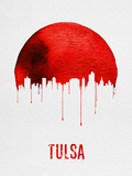 Tulsa Skyline Red Plastic Sign by  NaxArt