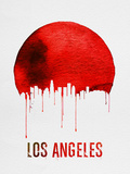 Los Angeles Skyline Red Plastic Sign by  NaxArt