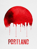Portland Skyline Red Plastic Sign by  NaxArt