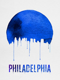 Philadelphia Skyline Blue Plastic Sign by  NaxArt