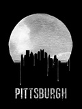 Pittsburgh Skyline Black Plastic Sign by  NaxArt