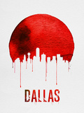 Dallas Skyline Red Plastic Sign by  NaxArt
