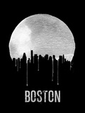 Boston Skyline Black Plastic Sign by  NaxArt
