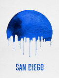 San Diego Skyline Blue Plastic Sign by  NaxArt
