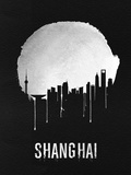 Shanghai Skyline Black Plastic Sign by  NaxArt