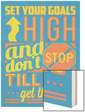 Set Your Goals High Wood Print by  Vintage Vector Studio