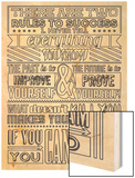 Success Set White Wood Print by  Vintage Vector Studio