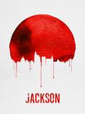 Jackson Skyline Red Plastic Sign by  NaxArt