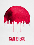 San Diego Skyline Red Plastic Sign by  NaxArt