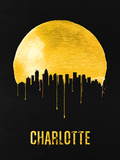 Charlotte Skyline Yellow Plastic Sign by  NaxArt