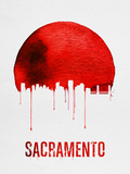 Sacramento Skyline Red Plastic Sign by  NaxArt