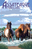 Assateague, Maryland - Pony Swim Plastic Sign by  Lantern Press