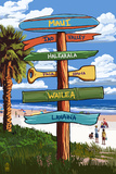 Maui, Hawaii - Destination Signpost Plastic Sign by  Lantern Press