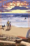 Oak Island, North Carolina - Beach Walk and Surfers Plastic Sign by  Lantern Press