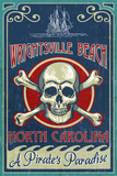 Wrightsville Beach, North Carolina - Skull and Crossbones Sign Plastic Sign by  Lantern Press