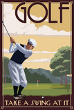 Golf - Take a Swing at It Plastic Sign by  Lantern Press