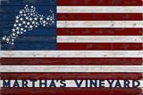 Martha's Vineyard - USA Flag and Stars Plastic Sign by  Lantern Press