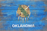 Oklahoma State Flag - Barnwood Painting Plastic Sign by  Lantern Press