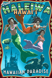 Haleiwa, Hawai'i - Mermaids Plastic Sign by  Lantern Press