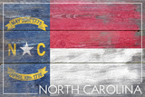 North Carolina State Flag - Barnwood Painting Plastic Sign by  Lantern Press