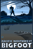 Pacific Northwest - Bigfoot Scene Plastic Sign by  Lantern Press