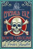 Emerald Isle, North Carolina - Skull and Crossbones Sign Plastic Sign by  Lantern Press