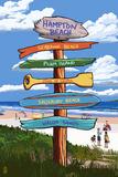 Hampton Beach, New Hampshire - Destination Signpost Plastic Sign by  Lantern Press