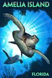 Amelia Island, Florida - Sea Turtle Diving Plastic Sign by  Lantern Press