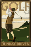 Golf - Sunday Driver Plastic Sign by  Lantern Press