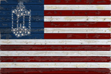 Flag with Paul Revere's Lantern Plastikschild von  Lantern Press