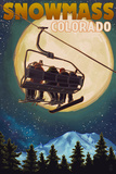 Snowmass, Colorado - Ski Lift and Full Moon with Snowboarder Plastic Sign by  Lantern Press