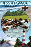 Assateague, Maryland - Montage Plastic Sign by  Lantern Press