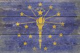 Indiana State Flag - Barnwood Painting Plastic Sign by  Lantern Press