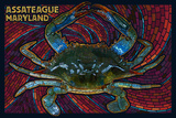 Assateague, Maryland - Blue Crab Mosaic Plastic Sign by  Lantern Press