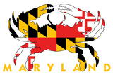 Maryland - Crab Flag (White) Plastic Sign by  Lantern Press