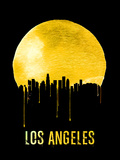Los Angeles Skyline Yellow Plastic Sign by  NaxArt