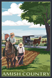 Amish Country - Field Scene Plastic Sign by  Lantern Press