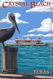 Crystal Beach, Texas - Pelican and Ferry Plastic Sign by  Lantern Press