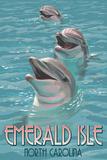 Emerald Isle, North Carolina - Dolphins Swimming Plastic Sign by  Lantern Press