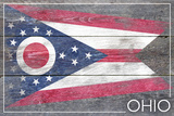 Ohio State Flag - Barnwood Painting Plastic Sign by  Lantern Press