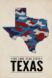 Texas - the Lone Star State - Camo State Plastic Sign by  Lantern Press