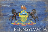Pennsylvania State Flag - Barnwood Painting Plastic Sign by  Lantern Press