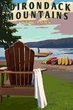 Adirondack Mountains, New York - Adirondack Chair and Lake Plastic Sign by  Lantern Press
