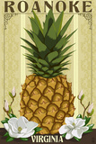 Roanoke, Virginia - Colonial Pineapple Plastic Sign by  Lantern Press