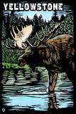 Yellowstone National Park - Moose Scratchboard Plastic Sign by  Lantern Press