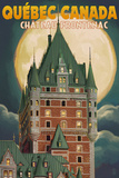 Quebec City, Canada - Chateau Frontenac and Full Moon Plastic Sign by  Lantern Press
