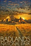 Badlands National Park, South Dakota Sunset Plastic Sign by  Lantern Press