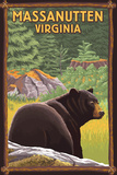 Massanutten,Virginia - Black Bear in Forest Plastic Sign by  Lantern Press
