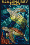 Hanauma Bay, Hawai'i - Sea Turtle - Mosaic Plastic Sign by  Lantern Press